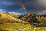 Rainbow at Sunset over Hellgate Canyon in Missoula  Montana
