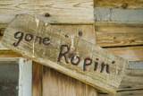 United States  Montana  Nye Old 'Gone Ropin' Sign at Ranch (PR)