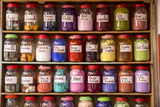 Morocco  Essaouira Jars of Powdered Dye Arranged in a Colorful Array