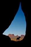 Silhouette of Tear Drop Arch and Dog  Monument Valley  Arizona