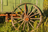 USA  South Dakota  Wild Horse Sanctuary Close-up of Vintage Wagon