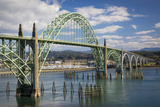 Yaquina Bay Bridge over the Harbor and Marina at Newport  Oregon  USA