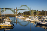 Dawn in Newport Harbor with Yaquina Bay Bridge Beyond  Newport  Oregon