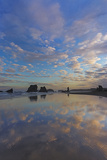 Clouds Reflect in Wet Sand at Sunrise at Bandon Beach  Bandon  Oregon