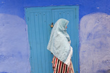 Woman in Narrow Lane Chefchaouen  Morocco