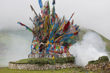 Buddhist Prayer Flags at Horse Festival  Tibetan Area  Sichuan  China