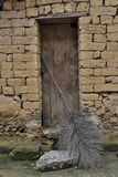 Old Doorway  Traditional Village of Xingping with Broom in Front
