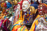 Masked Dancers at Festival  Keno Gompa Monastery  Tagong  China