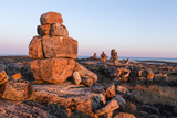 Canada  Nunavut  Territory  Stone Cairn on Harbor Islands at Sunset