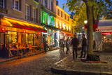 Evening Scene in Place Du Tertre  Montmartre  Paris  France