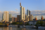 Skyline and Main River in Morning  Frankfurt  Hesse  Germany  Europe