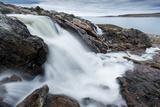 Canada  Nunavut  Territory  Hudson Bay  Blurred Image of Rushing River