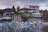 Bulgaria  Black Sea Coast  Nesebar  Waterfront Restaurants  Dusk