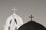 Greece  Santorini Church Steeples and Crosses