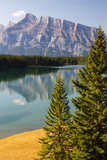 Canada  Alberta  Banff National Park  Two Jack Lake and Mount Rundle