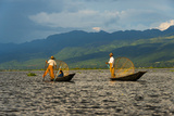 Intha Fisherman Rowing Boat with Leg on Inle Lake  Shan State  Myanmar
