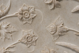 India  Agra  Taj Mahal Detail of Carved Marble with Flower Design