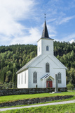 Vinje Church with Red Door and Forest of Trees  Vinje  Norway