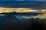 Temples in the Jungle Mist at Sunrise  Mrauk-U  Rakhine State  Myanmar