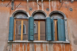 Shuttered Windows in Green  Venice  Italy