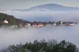 Romania  Transylvania  Brasov  Town Buildings in Fog  Dawn