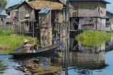 Stilt Cottages of Floating Village on Inle Lake  Shan State  Myanmar