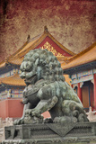 Lion Statue Standing Guard Forbidden City  Beijing  China