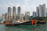 Fishing Trawlers at Anchor in Aberdeen Harbor  Hong Kong