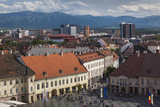 Romania  Transylvania  Sibiu  Piata Mare Square  Elevated View