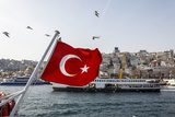 Turkish Flag  Passenger Ferry and Seagulls  Istanbul  Turkey