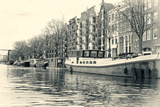 Historic Houses and Boats Along a Canal  Netherlands