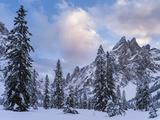 Valley Fischleintal in Winter  Mt Einserkofel Sexten Dolomites  Italy