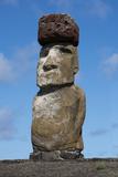 Chile  Easter Island Rapa Nui NP  Ahu Tongariki Statue with a Pukao