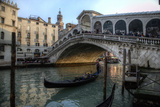 Gondola and Rialto Bridge Evening Light  Venice  Italy
