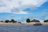 Boats and Sand Dune Along the Preguicas River  Maranhao State  Brazil