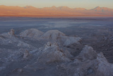 Moon Valley in the Atacama Desert as the Sun Is Setting