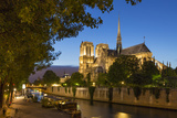 Twilight Along River Seine Below Cathedral Notre Dame  Paris  France