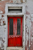 Red Doorway Old Building Burano  Italy