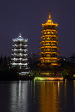 Gold and Silver Pagoda Evening Light  Guilin  China