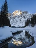 Lake Pragser Wildsee in Nature Park Fanes Sennes Prags  Winter Italy