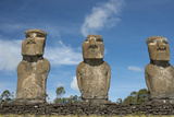 Chile  Easter Island Ahu Akivi  Ceremonial Platform with Moi Statues