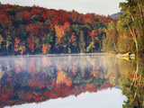 New York  Adirondack Mts  Sugar Maples and Fog at Heart Lake in Autumn