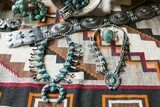 Beautiful Turquoise Jewelry Displayed for Sale  Santa Fe  New Mexico