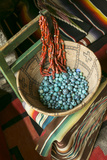 Basket Containing Round Turquoise Beads  Santa Fe  New Mexico  USA