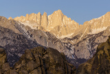 Mt Whitney at Dawn with Rocks of Alabama Hills  Lone Pine  California