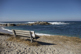 Bench on Beach with Waves  Monterey Peninsula  California Coast