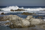 Waves  Blue Water and Rocks Along Monterey Peninsula  California Coast