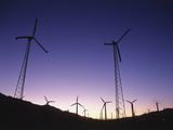 USA  California  Palm Springs  View of Wind Turbines at Sunset