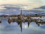 California  Sierra Nevada  Full Moon over Tufa Formations on Mono Lake