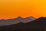 USA  Arizona  Saguaro National Park Tucson Mountains at Sunset